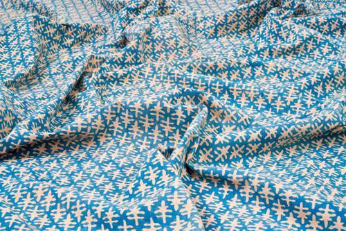 Tovaglia cotone azzurra bordo rosso tonda cm 150