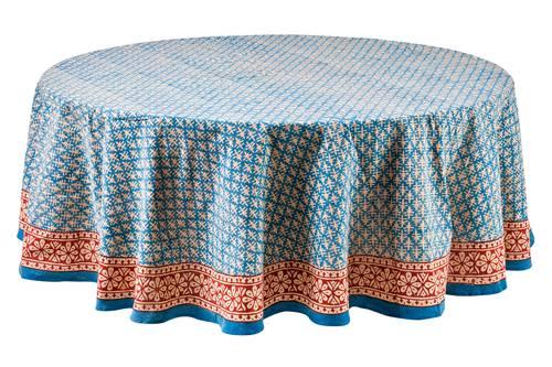 Tovaglia cotone azzurro bordo rosso tonda cm 180