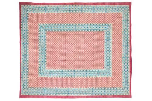 Tovaglia cotone malva bordo azzurro 140x180