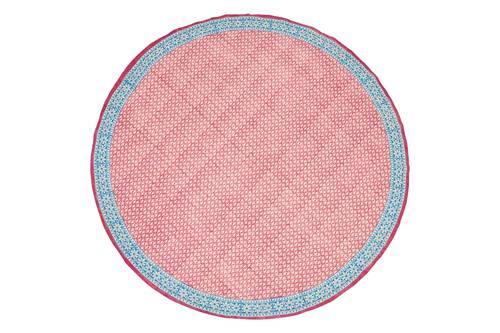 Tovaglia cotone malva bordo azzurro tonda cm 150