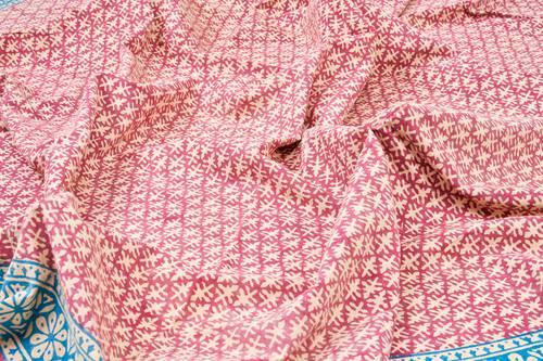 Tovaglia cotone malva bordo azzurro tonda cm 180