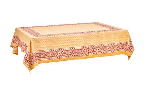 Tovaglia cotone ocra bordo rosso 140x180