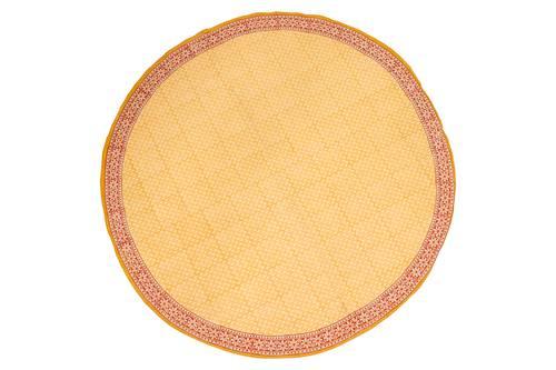 Tovaglia cotone ocra bordo rosso tonda cm 150