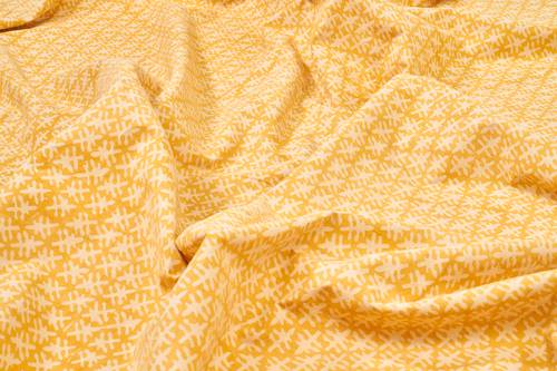Tovaglia cotone ocra bordo rosso tonda cm 180