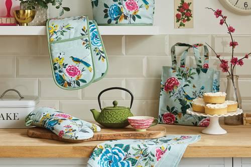 Shopping bag pieghevole azzurra rose aviary