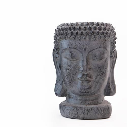 Vaso buddha ceramica grigio 35h