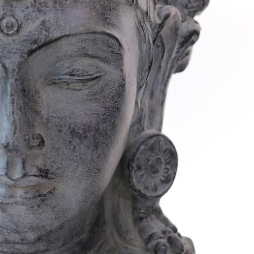 Vaso divinità femminile indiana ceramica grigio 49h
