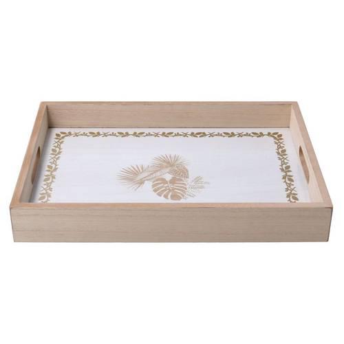 Vassoio legno naturale fondo bianco foglie oro 35x25