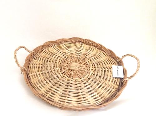 Vassoio tondo vimini con manici 30cm