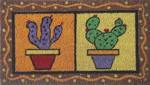Zerbino cocco da ingresso dipinto 2 vasi piante cactus