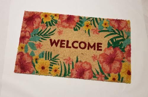 Zerbino ingresso cocco Welcome fiori colorati 40x70