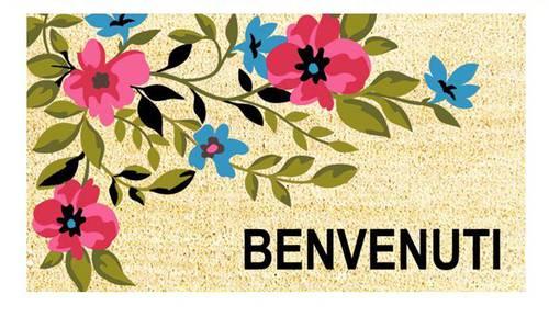 Zerbino cocco Benvenuti fiori rosa 40x70