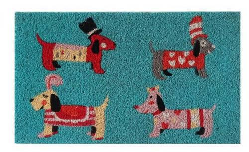 Zerbino cocco colorato 4 cani cani bassotto 40x70