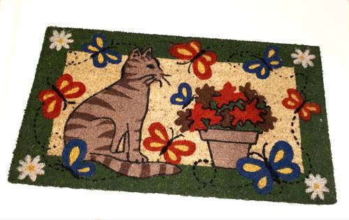 Zerbino cocco gatto con vaso di fiori 43x73